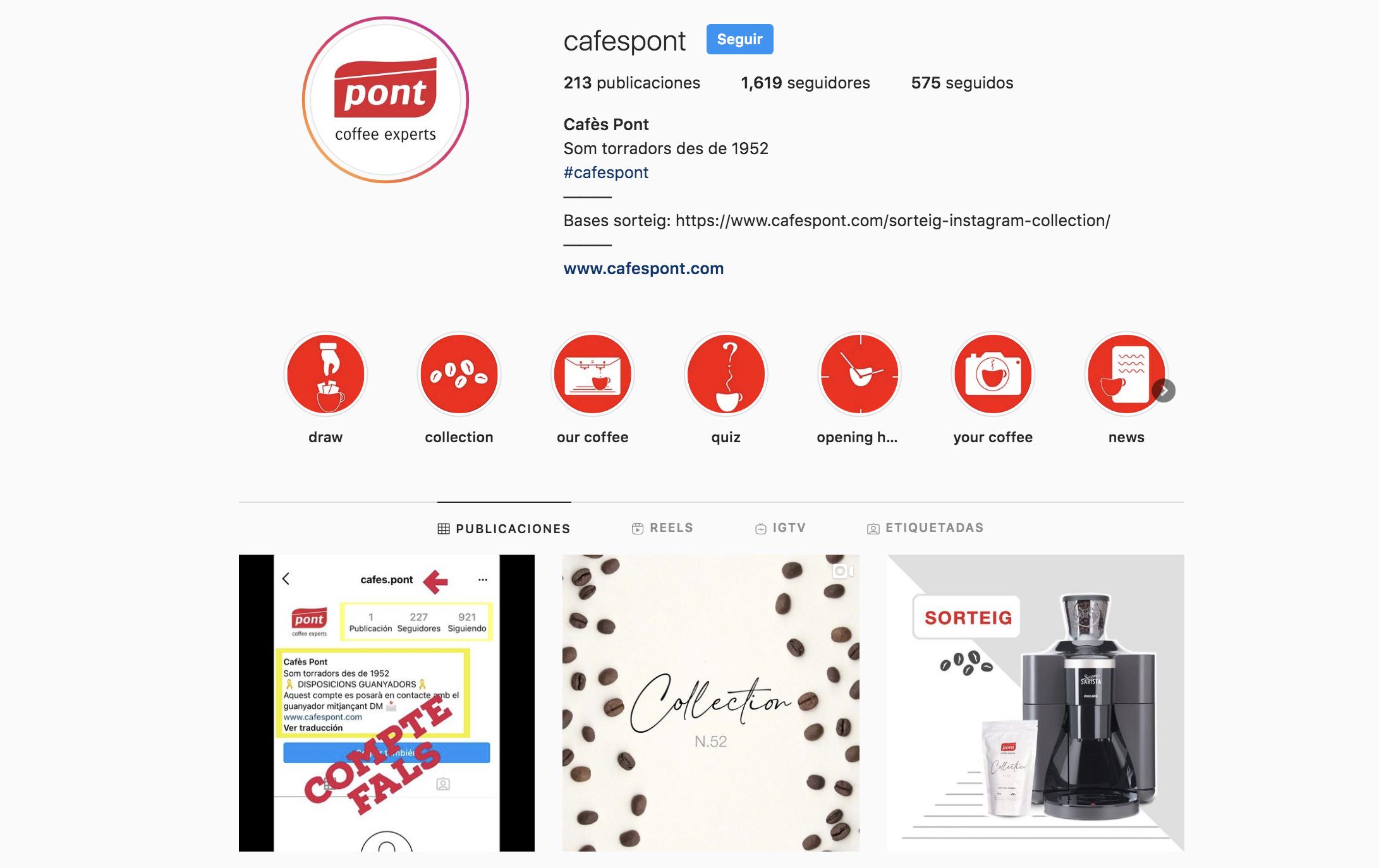 Perfil real CAFÉS PONT